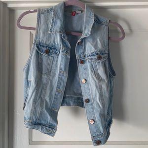 H&M light blue denim vest.